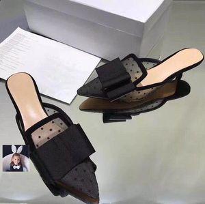 Горячие Sale-Fashion Bowtie Mesh девушки сексуальные остроконечные туфли Танцевальные туфли свадебные туфли 2018 Дизайнер женщин сандалии котенка