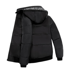 Men's Trendy Cotton Jacket Plus Size Men Winter Plaid Lining Detachable Hooded Zipper Warm Cotton Padded Coat Bomber jacket