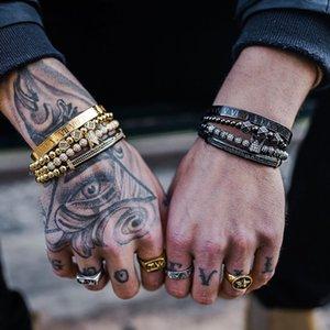 Men bracelet 4pcs set Handmade Braiding Bracelet Gold Hip Hop Men Pave CZ Zircon Crown Roman Numeral Bracelet Jewelry