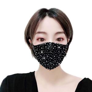 모조 다이아몬드 얼굴 장식 조각 입 커버 탄성 Earloop 마스크 패션 블링 블링 보호 PM2.5 방진 빨 재사용 마스크 마스크 마스크