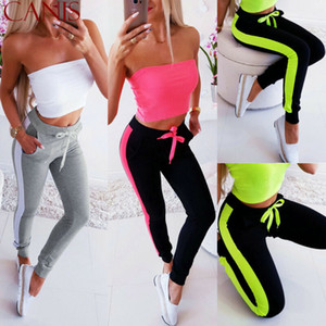 Pantaloni 2020 Moda Pantaloni sportivi Pantaloni Side-Stripe Loose Women elastico in vita Donna Sportswear bassi pantaloni vestiti