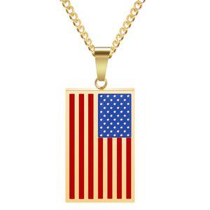 Criativa American Flag Pendant Militar Marca Mens Tag Personalidade Colar Hip Hop Jewelry pronto Stock Grátis