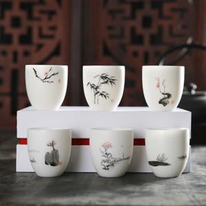 2020 Dehua porcelaine blanche prune tasse de thé peints à la main en céramique bambou orchidée Coupe personnelle Kung Fu à thé Coupe thé en céramique avec boîte-cadeau