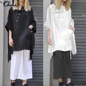 Celmia Blusas para mujer Manga 3/4 Casual Camisa con dobladillo asimétrico suelto 2019 Nuevos botones Harajuku Top de algodón Blusa Mujer S-5xl Y19062601