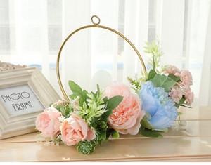 봄 실크 인공 서클 꽃 신부 부케 홈 장식 모란 웨딩 공급 꽃다발 저렴한 판매 신부 들러리 손 꽃