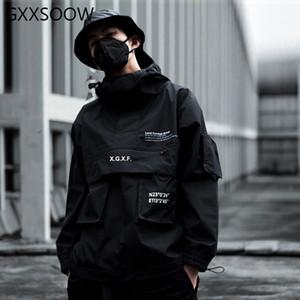 Мужские куртки HIPHOP грузовые мужчины черная уличная одежда тактическая куртка и пальто мультикарманский толстовка ветровая одежда GM370