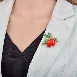 Mignon Fruit rouge émail femmes de broche vert cerise Fruit, PINS Broches hommes chapeaux enfants corsage de B124 bijoux