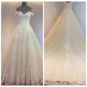 2021 от плеча A-Line кружевные аппликации свадебные платья шнурок назад Vestidos de брак на заказ свадебные платья сад