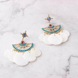 Boucles d'oreilles douces et douces de glands pour femmes - Bohème Boho Style de vacances Blanc Bleu Dangle Boucle d'oreille Déclaration Bijoux Accessoires de mode