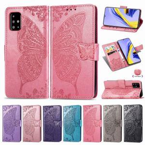 Couro Handphone Case Cover Para Samsung Galaxy A71 PU com Titular Carteira Emboseed Borboleta Flor Convex (Modelo: A71)