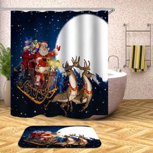 Ducha de Navidad Cortinas 180 * 180cm 20 Estilos de Santa Claus muñeco de nieve de Navidad de poliéster impermeable baño Plato de ducha OOA7312