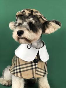 2020 yeni köpek giysileri Sundurma pelerin ekose moda şapka Giyim Ile Köpekler Için Mont Bahar yaz Sonbahar İngiliz tarzı