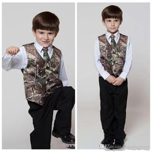 Gilet abbigliamento formale del Real Albero Camo Boy con i legami Camouflage sposo Boy Vest economico raso personalizzato formale nozze Gilet mimetico
