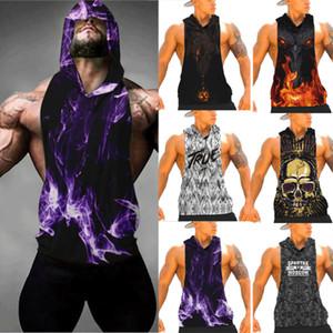 Gym Hommes imprimé animal Gilet Spinning capuche Débardeur Muscle Sport Vêtements Stringer T-shirt manches Workout