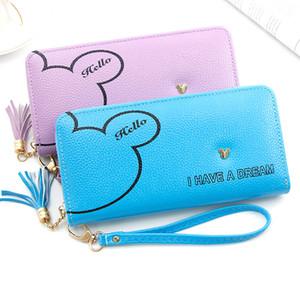 MONNET CAUTHY 2020 Nouveau long Portefeuilles grande capacité multi-cartes fente Portefeuille en cuir Tassel Zipper Violet Bleu Sac à main rose