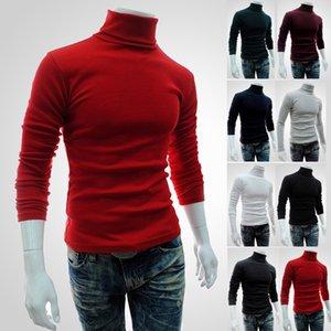 남성 LONGBIDA 남성 솔리드 스웨터 슬림 긴 소매 터틀넥 스웨터 가을 겨울 풀오버 기본 니트웨어
