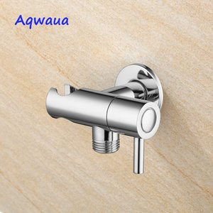 Aqwaua Faucet Angle Valve with Holder Water Stop Valve Switch for Shower Water Control Bathroom Accessories Chrome Plated T200605