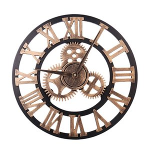 European Retro Gear Clock Wall Roman Digital Wooden Furniture 3D Bronzer Digital Wall Clock