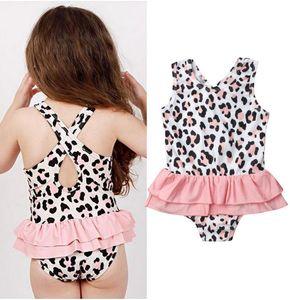 One Piece Toddler Baby Girls Leopard print Swimsuit Swimwear Bathing Suit Skirt Beach Costume Bathing Suit