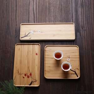 Hand-painted dried bamboo tea tray simple tableware tray tea set accessories office household bamboo storage box