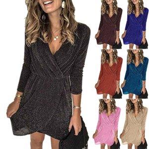 2020 summer women's V-neck irregular sequins nightclub evening maxi dress long sleeves dress cheap plus size dresses
