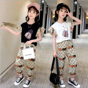 2019 Summer Big Girls Costume Set fille Vêtements enfants Vêtements pour enfants manches princesse Set 5 6 7 8 9 10 11 12 13 14 années