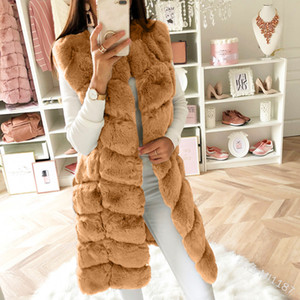 Lanxirui Winter-Hot New Imitation Pelz-Weste Stitching koreanische Kunstpelz-Mantel-langer Abschnitt Plus Size-Rosa-Grau Frauen-Jacke
