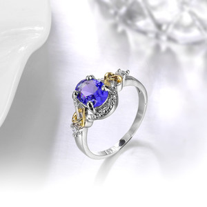Three-color zircon ring with explosive accessories,2018 heart-shaped patterns and artificial gemstone rings