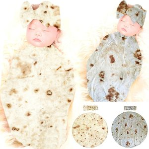 -new Burrito Blanket Baby Flour Tortilla Swaddle Blanket and tortilla-print hat Sleeping Swaddle Wrap Sets