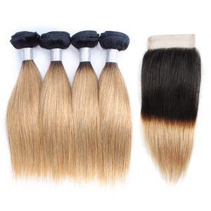 Fasci di capelli biondi miele 1B27 Ombre con chiusura radici scure 50 g / pacco 10-14 pollici 4 fasci estensioni brasiliane dei capelli umani dritti