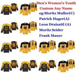 2019 Campeonato Mundial IIHF hockey jerseys Alemania Moritz Muller Jersey Patrick Hager Leon Draisaitl Seider Frank Mauer cosido personalizada