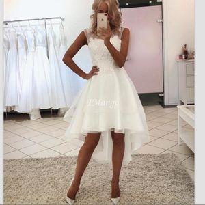 Modest High Low Wedding Dresses Lace Appliques Illusion Zipper Back Garden Counrty Boho Bridal Gowns Tea Length Vestido De Novia