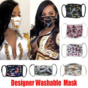 Designer-Gesichtsmaske Waschbar Luxus Anti Staub Gesichtsabdeckung Respirator Staubdichtes Reiten Sport Antibakteriell Reusable Mouth Ice Silk Masken DHL