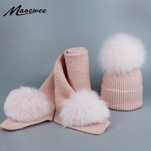 A pele real Bola Pom Poms Inverno algodão Chapéus e Scarf Set for Women Girl 's Hat malha Gorros Grosso Skullies Lenços