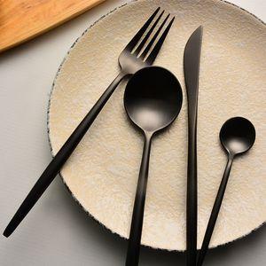 Mat Siyah Gümüş Set - AĞIR HİZMET 4 Parça Paslanmaz Çelik Sofra takımı Kaplar Çatal bulaşığı Steak Bıçak Çatal ve Kaşık