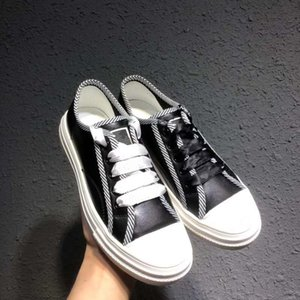 origin package black white letter lace up flat casual shoes calf leather designer sneakers size 34 to 40