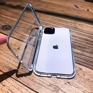 Magnético del caso de la adsorción del metal para el iPhone x xr x Max vidrio templado Volver Imán Protectores de la cubierta para el 6 6s 7 8 Plus
