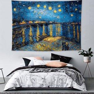 가을 수확 필드 인쇄 태피스트리 예술 풍경 스타일 푸른 밤 하늘 태피스트리 별이 빛나는 하늘 패션 벽걸이 인쇄하기