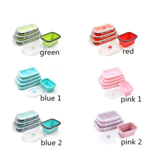 Food grade silicone lunch boxes folding food storage containers student bento box portable meal boxes 4 size