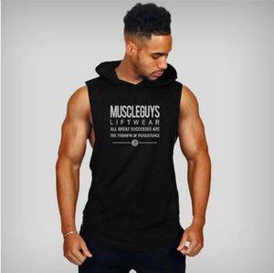 Новый дизайнер Muscleguys Liftwear Рубашка без рукавов с капюшоном Спортивные залы Одежда Фитнес Мужчины Бодибилдинг стрингеры майки майки