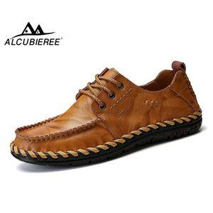 ALCUBIEREE Erkek Deri Ayakkabı Moda Erkekler El yapımı loafer'lar Casual Makosenler Erkek Rahat Sneakers Ayakkabı