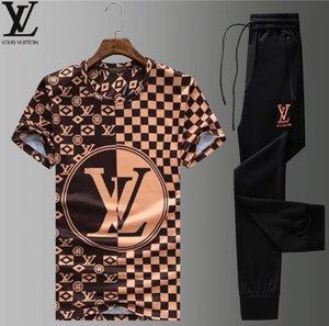 2020 nuevos del verano de los hombres chándal Diseñador camiseta + pantalón largo Conjunto 2 piezas sólidas trajes de color de la técnica chándales de alta calidad