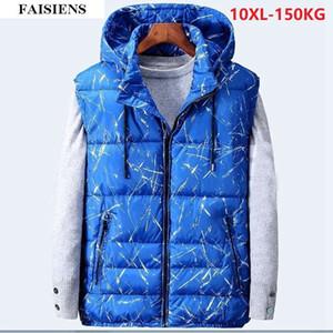 FAISIENS Dicke warme Winter-Herrenwesten Geometric 7XL Plus Große Größe Große 5XL 8XL 10XL Outwear Baumwollgefütterte Tür Weste 54