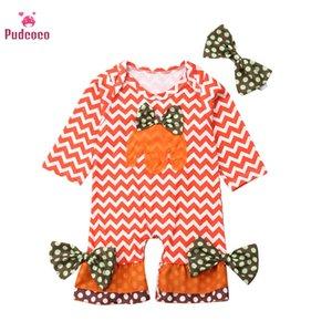 Pudcoco Neonata appena nata pagliaccetti Ripple zucca della banda della stampa di cotone tuta Bowknot fascia Abbigliamento Bebe Outfit 0-2T