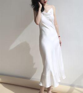 2020 verano de raso vestido de las mujeres de oro blancas rosas púrpura velada elegante noche de espagueti del faux de seda de la correa vestidos de fiesta bata