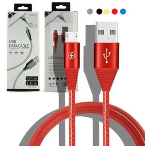 Нейлон 2.4A USB-кабель для зарядки данных Линии Плетеный Кабели для Huawei Зарядные устройства Android мобильные телефоны синхронизации Кабели 1M с розничным пакетом