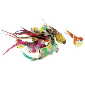 Set of 12 Pieces Colorful Artificial Foam Feather Birds with Long Tail for Home Decor Figurines Crafts - Clip On   No Clip