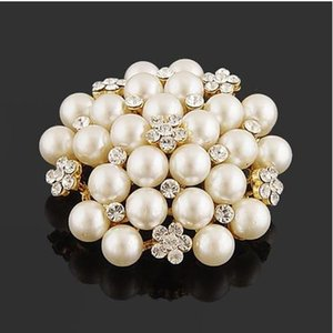 2020 Tone Faux Pearl&Crystal Flower Pin Brooch Wedding Costume Brooch B028 Vintage Imitation Pearl Flower Bridal Bouquet Pin