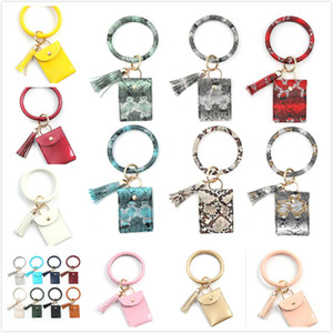 Fashion Leopard And Snakeskin PU Leather Bracelet Keychain Wristlet Credit Card Wallet Keychain with Tassel Lady's Gift