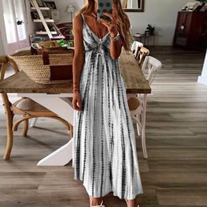 Womens Tie-Dye plus size dress Beach Pullover Maxi Boho Sundress Ladies Loose Long Slip wrap dress vestido verano mujer #js5